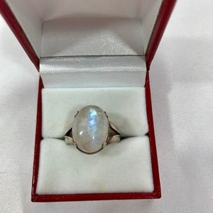 Vintage Sterling Silver Rainbow Moonstone Ring